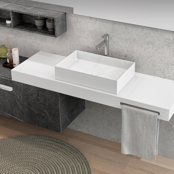 encimera Theion de Solid surface con lavamanos sobre encimera para baño